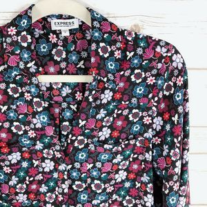Express Tops - Express Portofino Top Size S Floral Button LS Roll